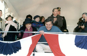 Governor Jeb Bush and wife, Columba, during inauguration parade (1999)