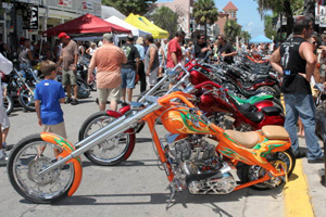 Custom motorcycles on Duval Street during the annual Poker Run: Key West, Florida (2006)