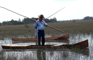 Glen Simmons on his glade skiff (1980s)