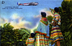 Postcard of an airplane flying over the Everglades (1952)