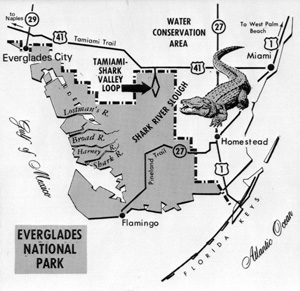 Map of the Everglades National park (1950s)