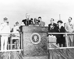 President Harry Truman speaking at the opening ceremonies of Everglades National Park (1947)