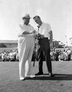 Jackie Gleason and Arnold Palmer at a golf match: Palm Beach Gardens, Florida (196-?)
