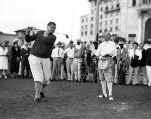 Babe Ruth and the former governor of New York, Al Smith, playing a round of golf at the Miami Biltmore: Coral Gables, Florida (1930)