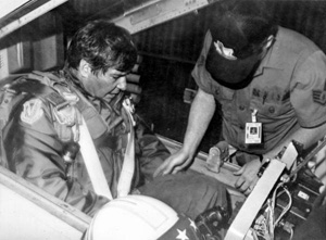 Governor Bob Graham in cockpit ready for F106 flight with Florida Air National Guard: Saint Augustine, Florida (between 1979 and 1987)