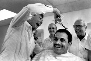 Bob Graham during work day as a barber (1979)