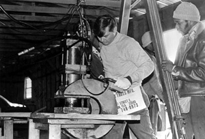 State Senator Bob Graham during workday as a factory worker at the Shepard Truss Company: Bradenton, Florida (1978)