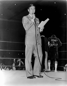 State Senator Bob Graham during workday as a ring announcer at the Tampa Convention Center: Tampa, Florida (1978)