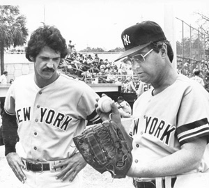 Florida Governor Bob Graham wearing a New York Yankees uniform: Tallahassee, Florida (1980)