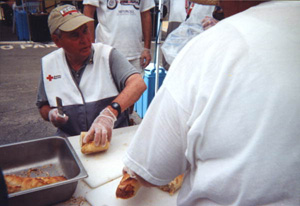 U.S. Senator Bob Graham working as a hurricane relief volunteer for the American Red Cross: Port Charlotte, Florida (2004)