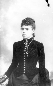 Woman wearing velvet print bodice