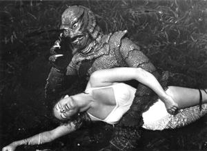 Ginger Stanley in the grip of the creature: Silver Springs, Florida (1954)