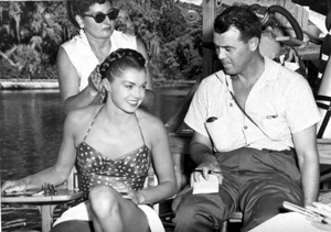 Esther Williams' hair being prepared for an underwater sequence: Silver Springs, Florida (1955)