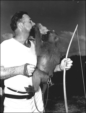 Al Zaebst with pet monkey Fanny: Weeki Wachee Spring, Florida (1948)