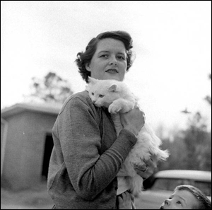 Mrs. Gene Davis holding her cat (1955)