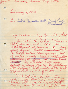 Roxcy Bolton's original handwritten draft of her testimony in support of the Equal Rights Amendment before the Florida Select Committee on the ERA, February 15, 1973 - page 1
