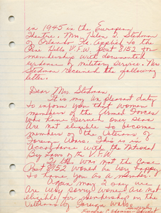 Roxcy Bolton's original handwritten draft of her testimony in support of the Equal Rights Amendment - page 2