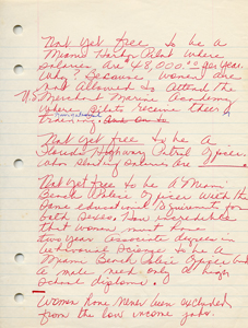 Roxcy Bolton's original handwritten draft of her testimony in support of the Equal Rights Amendment - page 3