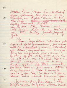 Roxcy Bolton's original handwritten draft of her testimony in support of the Equal Rights Amendment - page 4