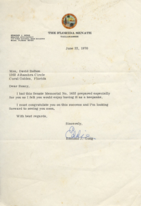 Senator Edmond J. Gong's cover letter sending Florida Senate Memorial No. 1462 to Roxcy Bolton