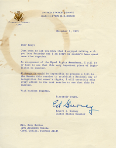 Letter from United States Senator Edward J. Gurney, December 1, 1971, assuring Roxcy Bolton that he will do his best to enact the Equal Rights Amendment