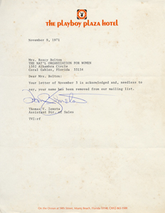 Response from Playboy Plaza Hotel (1971)