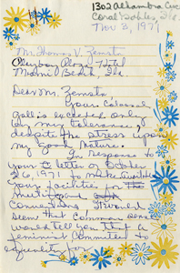 Handwritten draft of letter from Roxcy Bolton to Playboy Plaza Hotel, page 1 (1971)