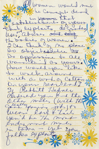 Handwritten draft of letter from Roxcy Bolton to Playboy Plaza Hotel, page 2 (1971)