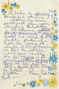 Handwritten draft of letter from Roxcy Bolton to Playboy Plaza Hotel, page 3 (1971)