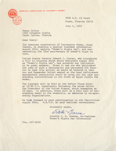 Women's Equality Day Letter from Estelle J.M. Greene, American Association of University Women (1972)