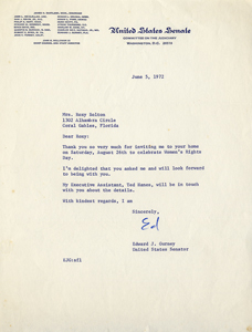 Women's Equality Day Letter from Senator Edward J. Gurney (1972)