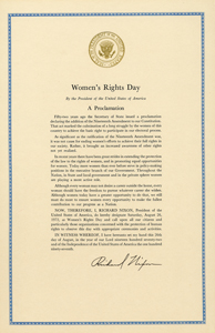 President Richard Nixon's Women's Rights Day Proclamation, 1972