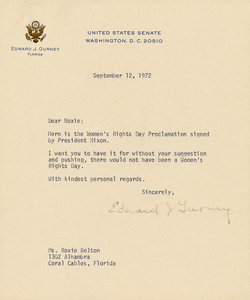 Senator Edward J. Gurney's letter to Roxcy Bolton, September 12, 1972, sending her President Nixon's Women's Rights Day Proclamation