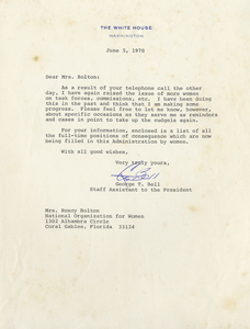 Letter from Presidential Staff Assistant George T. Bell, June 5, 1970