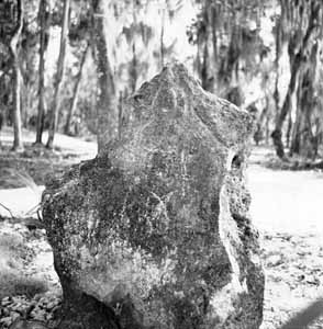 Limestone stele at Crystal River State Park (1960s)