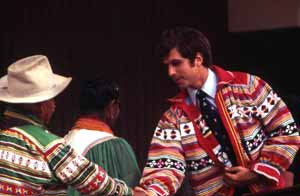 Secretary of State Bruce Smathers wearing traditional Seminole patchwork jacket: White Springs, Florida (1975)