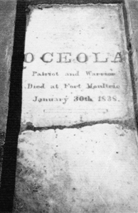 Tombstone for Seminole resistance leader Osceola: Fort Moultrie, SC (c. 1900s)