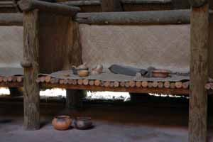 Reconstruction of Apalachee sleeping area at the San Luis Mission site: Tallahassee, Florida (2005)