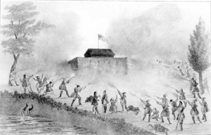 Rendering of a Seminole attack on a U.S. Army blockhouse (c. 1836)
