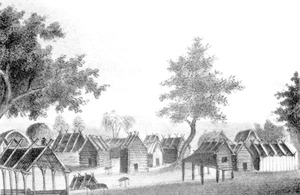 Drawing of an 1835 Seminole town (1837)