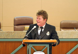 Tallahassee's first female Fire Chief Cynthia Dick speaking on the day she was sworn-in at the City Commission chambers by City Attorney James English (2005)