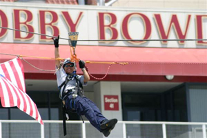 Lt. Judi Davison of the Tallahassee Fire Department Urban Search and Rescue Team performing technical level rope rescue training at Doak Campbell Stadium (2006)