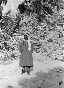 Juanita Miller in snow scene : Madison County, Florida (1958)