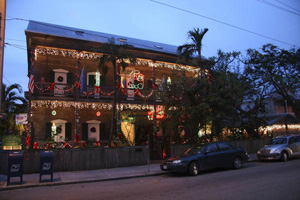 Cypress House at 601 Caroline Street decorated for Christmas: Key West, Florida (2005)
