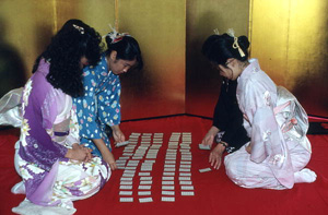 Card playing during Japanese New Year's celebration: Delray Beach, Florida (1988)