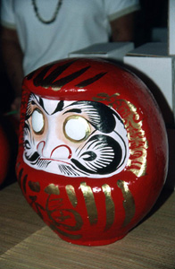 Daruma doll on display during Japanese New Year's celebration: Delray Beach, Florida (1988)