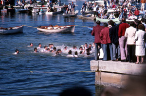 Boys competing in contest to retrieve an epiphany cross: Tarpon Springs, Florida (1985)