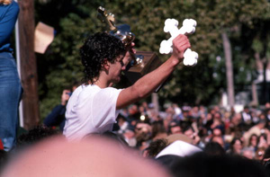 Winner of the epiphany cross retrieval contest with cross and trophy: Tarpon Springs, Florida (1985)