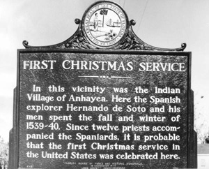 First Christmas service signboard at Lake Jackson: Leon County, Florida (19--)