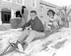 Florida State University students enjoying a day of snow: Tallahassee, Florida (1958)